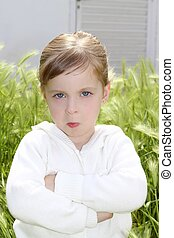 angry disappointed gesture little girl meadow - angry...