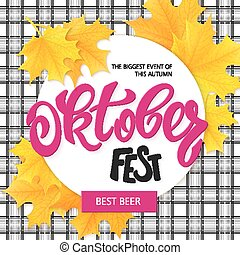 vector hand drawn oktoberfest lettering label with leaves on cheked background