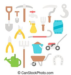 Flat design farmer tools set illustration vector