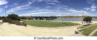 Mill Avenue Bridge over Salt Lake River, Tempe, AZ -...