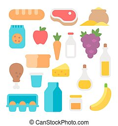 Flat design farm products set illustration vector