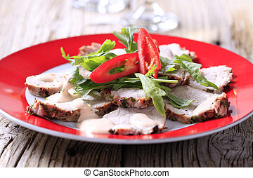 Roast pork tenderloin - Slices of roast pork tenderloin...
