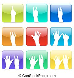 White hands counting from 1 to 9 - Vector illustrator EPS 10