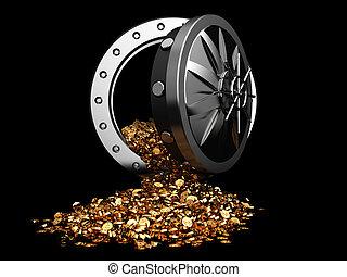 treasure - 3d illustration of vault door and golden coins