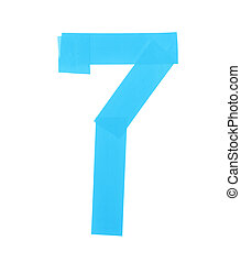 Number seven symbol made of insulating tape isolated over...
