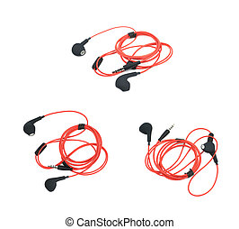 Pair of red headphones isolated over the white background,...