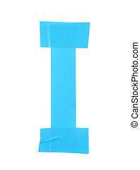 Letter I symbol made of insulating tape pieces, isolated...