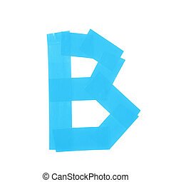 Letter B symbol made of insulating tape pieces, isolated...