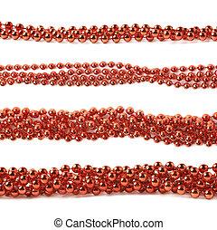 Line of beads garland thread isolated - Line of red beads...