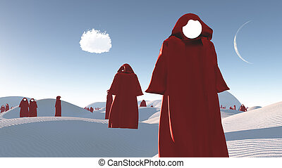 figuras, en, rojo, Batas, en, el, desierto