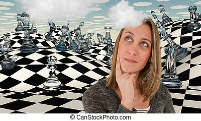 Chess game - Chess board, woman is thinking.