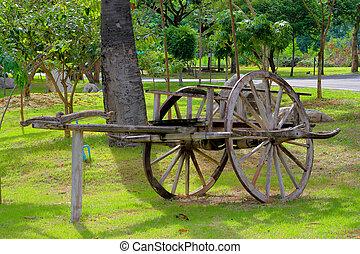 bullock cart in the garden