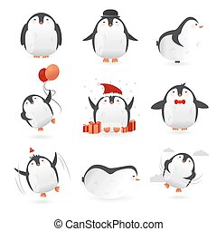 Collection of cute penguins characters. Set of funny birds. Vector