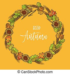 Autumnal or fall round frame background Wreath of autumn...