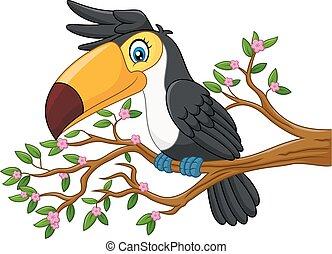 Cartoon funny toucan on a tree bran - Vector illustration of...