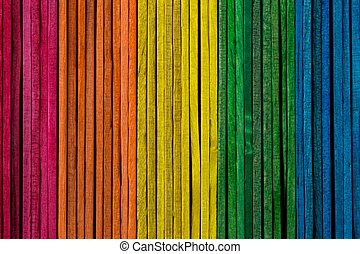 Coloured Wooden Sticks Stacked Side by Side