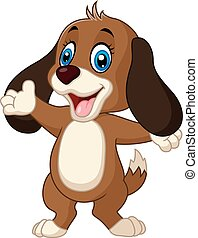 Cute dog presenting - Vector illustration of Cute dog...