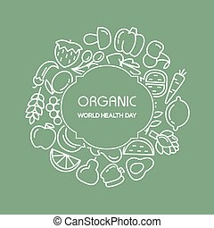 Fruit and vegetables background illustration - Organic world...