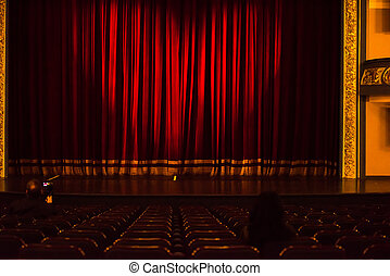 stage curtain or drapes red background with heart symbol...