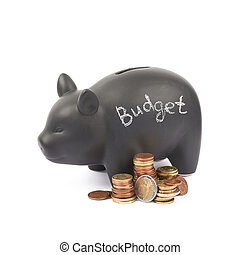 Ceramic piggy bank container isolated - Word Budget written...