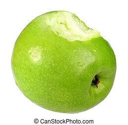 Single a green apple with bite