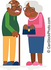 Old family African Adult Grandfather Grandmother Flat Design...