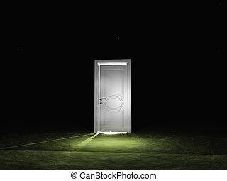 Single door emits light in dark scene