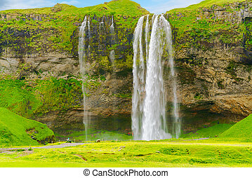 View of Seljalandsfoss, the water fall in the South Region...