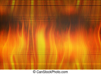 red flame fire through transparent glass - red flame fire...