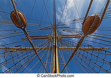Mast and rigging, three masted barque, sailing ship at...