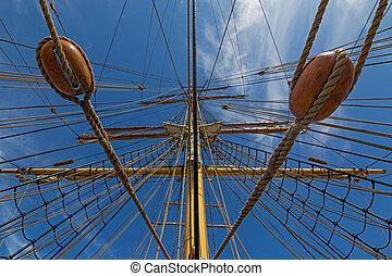 Mast and rigging, three masted barque, sailing ship at...