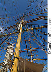 Closeup details of James Craig mast and rigging, three...
