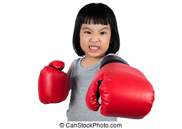 Asian Little Chinese Girl Wearing Boxing Glove With Fierce...