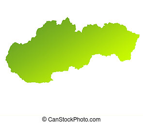 Slovakia - Green gradient map of Slovakia isolated on a...