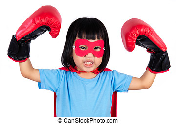 Asian Little Chinese Girl Wearing Super Hero Costume with...