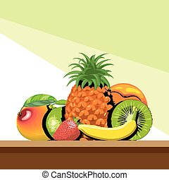 A set of fruits with shadow, pineap