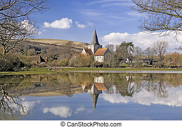 Alfriston Church - The cathedral of the Downs reflected in...