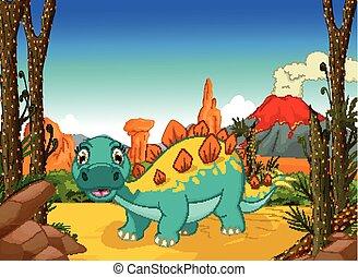 stegosaurus cartoon in the jungle - vector illustration of...