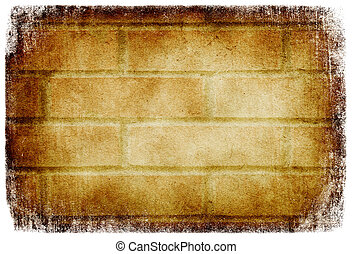 Grunge brick wall background, isolated on white