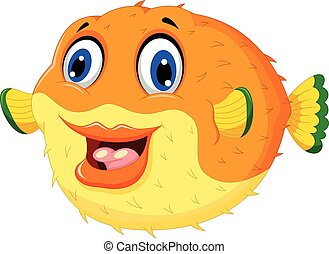 funny puffer fish cartoon swimming - vector illustration of...