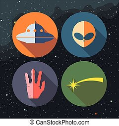 Unidentified flying objects icons s