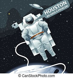 Astronaut in spacesuit flying in space and calling for...