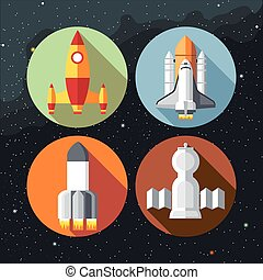 Spaceships icons collection with shuttles and rockets....