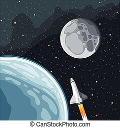 Spaceship mission to moon Eart and moon view in space...