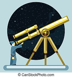 Ancient mag looking into a telescope and pointing with hand,...