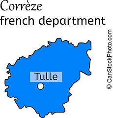 Correze french department map on white in vector