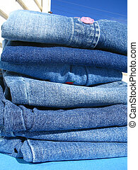 Wash day blues - All jeans laundry neatly stacked after...