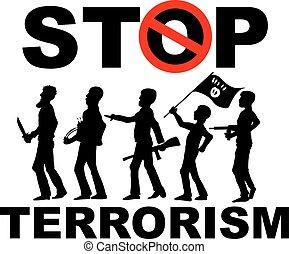 terrorist silhouette on background - stop terrorist...