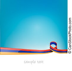 armenia ribbon flag on blue sky background