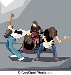 Rock music band performing on stage